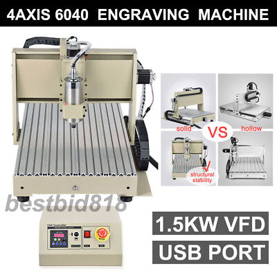 USB VFD 6040 4Axis CNC Router 3D Engraving Engraver Milling CARVING Mill Machine