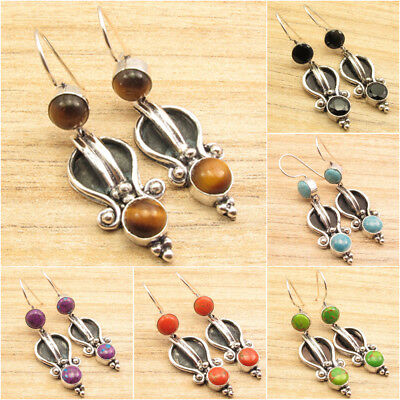 925 Silver Plated OLD STYLE Earrings ! Antique Style Gemstone Jewelry