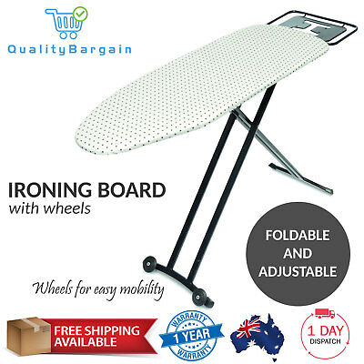 Ironing Board w/ Wheels Height Adjustable Foldable Metal Frame Iron Cotton Cover