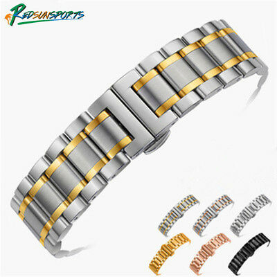 High Quality Stainless Steel Watch Strap Bands Bracelet Solid Double Clasp New