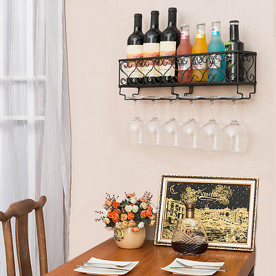 Iron Wall Mounted Wine Rack Bar Kitchen Bottles Storage Home Decoration Holder