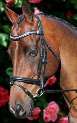 New English Bling Wave Leather Horse Bridle with Reins