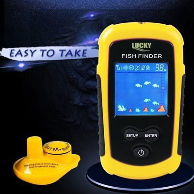 Sonar Fish Finder Fish Detector 100m 125kHz Wireless Alarm Transducer Portable G
