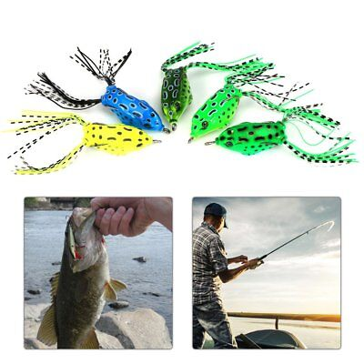 New FIve Color Selected Soft Rubber Frog Hook Lure Bass Fishing Bait Tackle GU