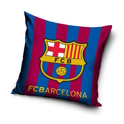 FC BARCELONA STRIPE CUSHION BLUE RED FOOTBALL CLUB CREST BEDROOM 40cm x 40cm