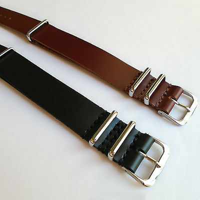MILITARY Style NATO G10 LEATHER WATCH STRAP Sizes 18 20 22mm Black Brown