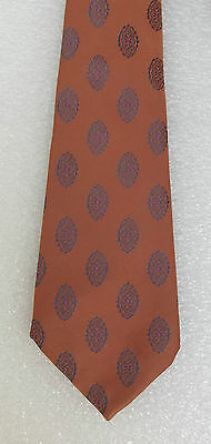 Welch Margetson Scottish tie vintage 1970s Orange with blue oval flower pattern
