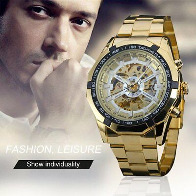 Waterproof Automatic Mechanical Watch with Skeleton Dial for Men GU
