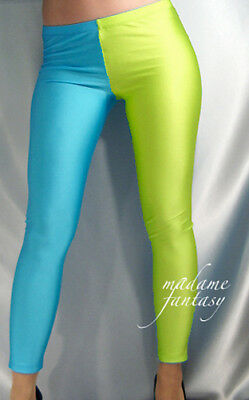 Two Tone Shiny Opaque Spandex Leggings Turquoise Neon Yellow Xs S M L Xl Xxl
