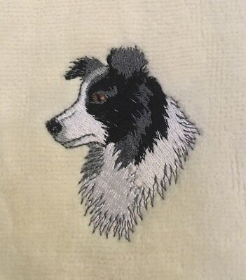 Border Collie Head, Hand Towel, Embroidered, Custom, Personalized, Dog