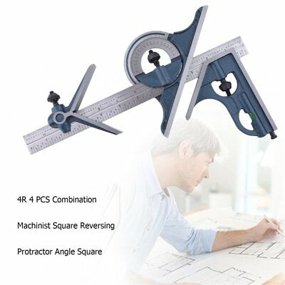 4R 4 PCS Machinist Square Combination Reversing Protractor Angle Square Set G@