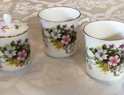 Royal Grafton Made In England Fine Bone Jam Jar Plus 2 Cups Country Flowers