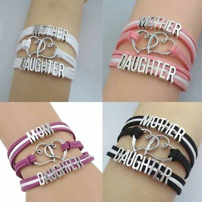 Lovely Fashion Double Love Heart Woven Bracelet Mom Leather Love Family Gifts