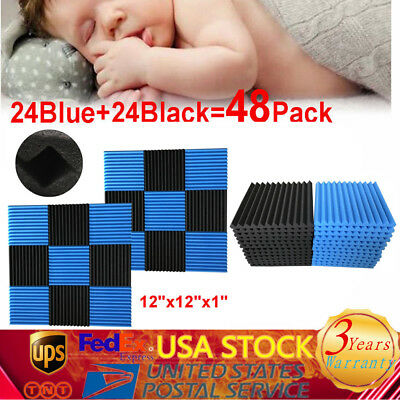 48 Pack BLUE + BLACK Acoustic Foam Panel Studio Soundproofing Wall Tiles USA