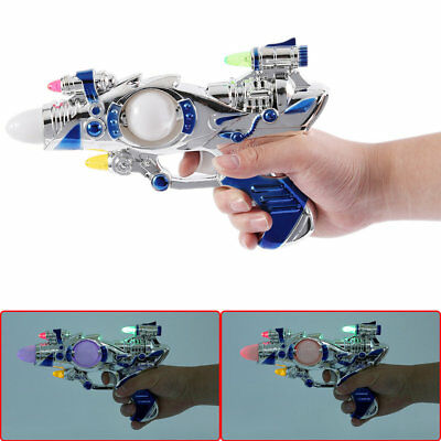 Space Pistol Music Toy Funny Electroplated Toy Powered by Battery Children Toy K