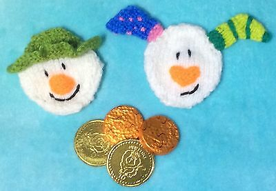 KNITTING PATTERN - Christmas Snowman and Snowdog Coin /Chocolate gift bags 8x8cm