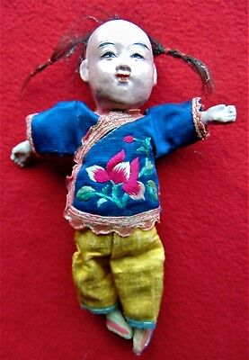 Antique Composition Chinese Boy Doll In Embroidered Silk Clothes - 7 1/4""
