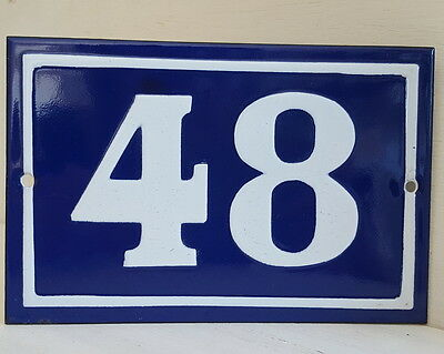 OLD FRENCH HOUSE NUMBER SIGN door gate PLATE PLAQUE Enamel steel metal 48 Blue