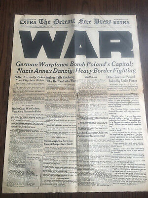 WAR start of WWII Adolf Hitler Nazi Germany invaded Poland 1939 Newspaper
