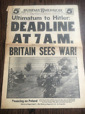 WWII Hitler given Ultimatum after invading Poland Sep 3 1939 New York Newspaper