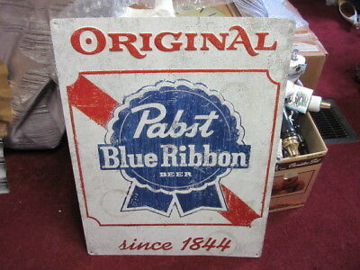 Pabst Blue Ribbon Brewery Tin Beer Sign W/ Vtg Distress Design Bar Pub Rec Room