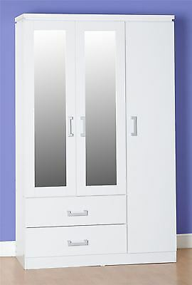 Excellent Value 3 Door Mirrored Combination Wardrobe with 2 Drawers Modern White