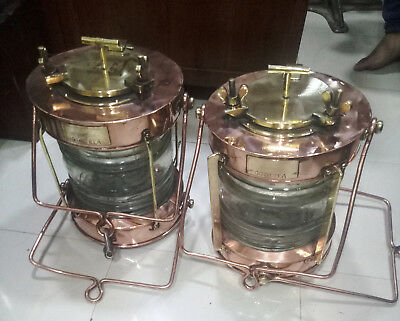 Vintage Nautical Marine Brass And Copper Electric Lamps Set Of 2 Pieces
