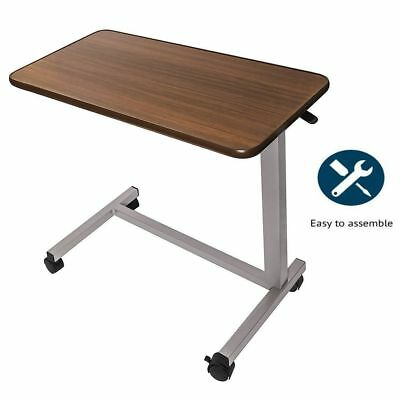 ROS Medical Adjustable Overbed Bedside Table with wheels (Hospital and Home Use)