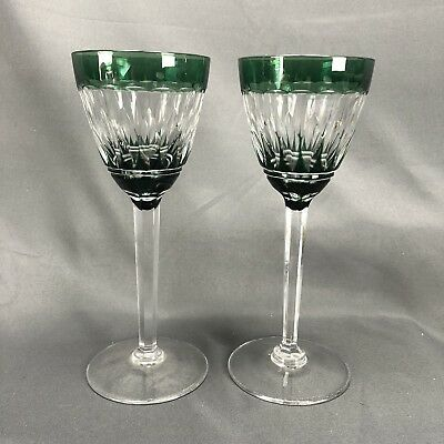 (2) Val St Lambert Emerald Green Cased Cut To Clear Crystal Wine Goblets VAS28