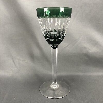 "Val St Lambert 7 1/2"" Emerald Green Cased Cut To Clear Crystal Wine Goblet VAS28"