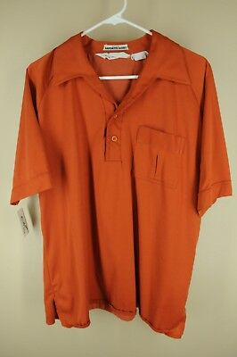 Vintage Lancer Men's Burnt Orange 70's Polycotton Polo Casual Shirt L Large