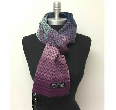 New Women's 100% Cashmere Scarf Wrap SCOTLAND Chevron Purple pink Blue Black