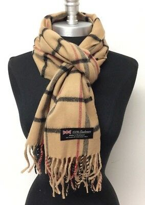 Men Women's Winter Warm 100% Cashmere Scarf Wrap SCOTLAND Plaid Camel Black Red