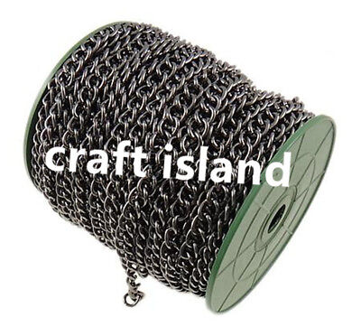 Wholesale 25meter 10x8mm gunmetal finish twisted heavy  link chain in roll-9742b