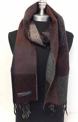 NEW Men 100% CASHMERE SCARF Check Plaid Scotland Soft Warm Wool Wrap Black/gray