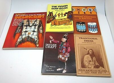 Set of 5 Native American Indian Crafts Books, Instruments, Crafts, Dress & More