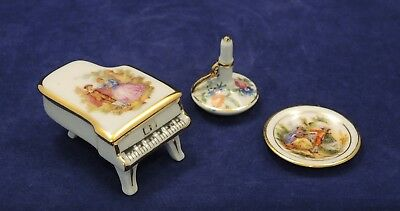 3 Limoges Pieces Piano Trinket Box Candlestick Display Plate Sa Porcelaine #5