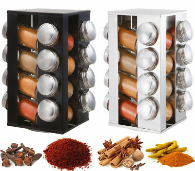 Stainless Steel Rotating Revolving Glass 16 Spice Jar Rack Carousel Stand