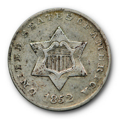 1852 Three Cent Piece Silver About Uncirculated AU Original US Type Coin #4334