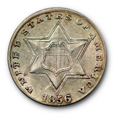 1856 Three Cent Piece Silver 3cs MS Uncirculated Mint State Lustrous #3546