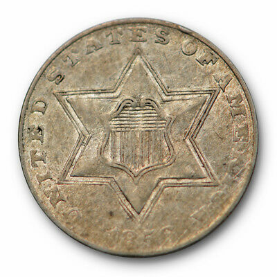 1856 Three Cent Piece Silver 3cs AU About Uncirculated #3547