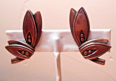 Vintage Modernist Repousse Copper Butterfly Clip On Earrings 1.5 Inches