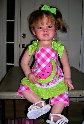❤2 Piece Outfit❤Spring & Summer❤Sun Dress & Capri's❤Watermelon❤Pink Green❤18M❤