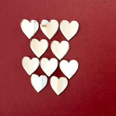 Pack of Heart Craft Scrapbook Card Embellishment Wedding Decor Acrylic Mirrors