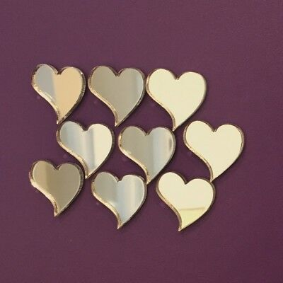 Pack of Stylish Heart Craft Scrapbook Card Embellishment Wedding Acrylic Mirrors