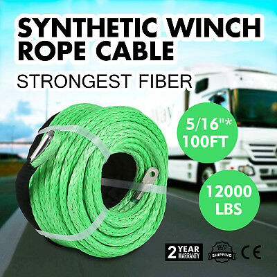 """5/16"""" x 100ft 12000LBS Synthetic Winch Tow Rope Line Green Recovery Cable 4WD"""