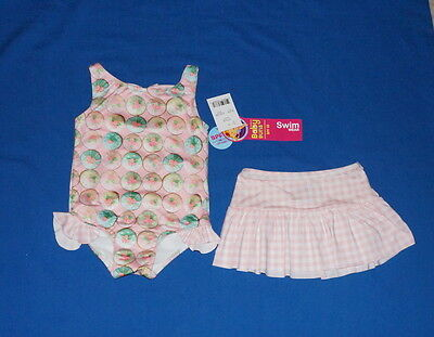 Baby Buns Girls' Swimwear+Skirt 3T Pink Cupcakes UV Protection $12 NWT Free/Ship