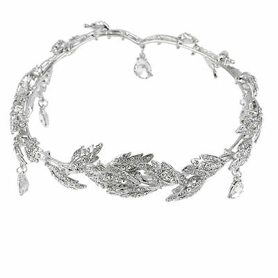 Elegant Bridal Rhinestone crystal prom hair chain forehead band Headpiece GK