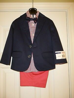 NWT Izod Toddler 4-Piece Suit Blue Jacket with Nantucket Red Shorts Size 2T