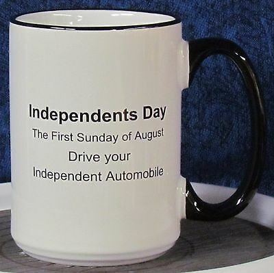 Independents Day - Pacer on a 15 oz Coffee Mug with Black Handle & Rim -